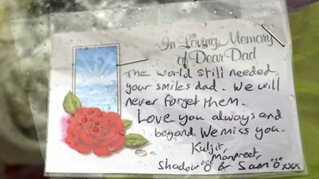 A family tribute left at the scene