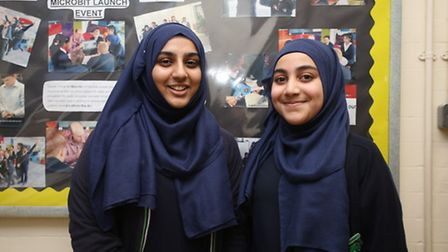Eman Ali, 16 and Ubeydah Shah, 15 who are in the STEM club