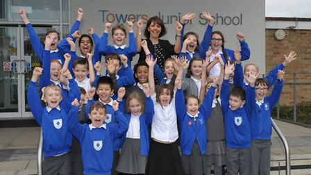 Assistant head Lisa Shepard and pupils celebrate ofsted success