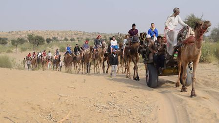 Newham Air Cadets travel by camel in the Thar desert, Rajasthan, India