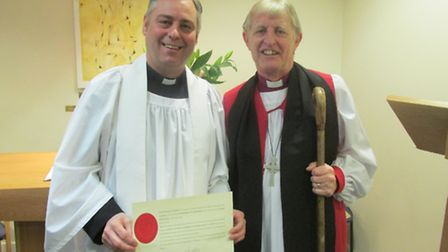 The new Queen's Hospital Lead Chaplain Philip Wright, with Peter Hill, Bishop of Barking at the lice