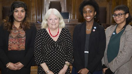 Cllr Elaine Norman with new elected Redbridge MYP (l-r) Amishta Aubeelac, Alohan-Eke and Bruna Franc