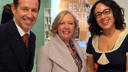 Scott Cupit, Deborah Meaden and Rowena Howie from Revival Retro on the day of filming the Dragon's