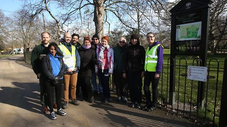 Sunshine and smiles during the walk leader training at West Ham Park.