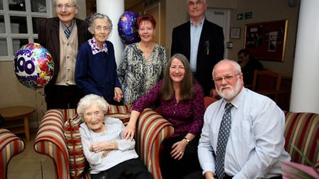 Daisy Logan celebrating her 100th birthday at Chadwell Heath Residential Care Home with her family