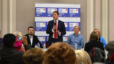West Streeting addressing King George A&E campaigners at Redbridge Town Hall