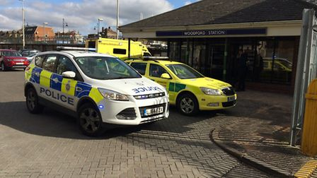 Ambulance and police were called to an incident at Woodford station this afternoon. Picture: Ken Mea