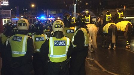 Fans clashed ahead of the West Ham United and Tottenham Hotspur premier league clash in Upton Park