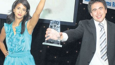 Charlie Hogg with Konnie Huq at the BBC young citizen of the year awards