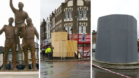 The Champions statue in Upton Park has been boarded up ahead of Hammers' clash with Spurs. Picture: