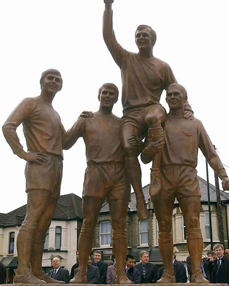 The Champions statue in Upton Park in all its glory. Picture: Stefan Rousseau/PA Images