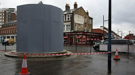 The council have borded up the statue, at the junction of Central Park Road, Barking Road and Bounda