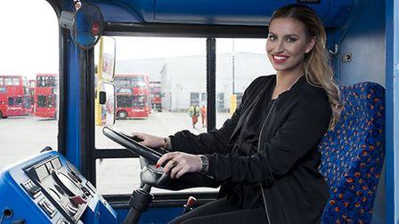TV personality Ferne McCann learning how to drive a bus at the Stagecoach West Ham depot