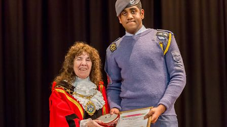 Mayor's Community Awards - Young Citizen winner Jameel Campbell with Mayor Barbara White