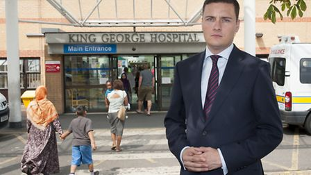 Ilford North MP Wes Streeting outside the entrance of King George Hospital Picture: Geoff Wilson