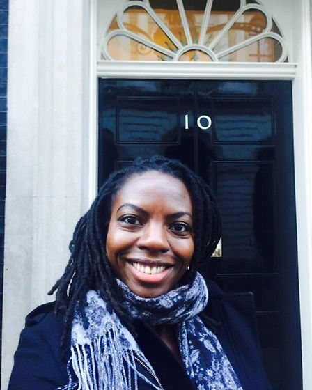 Nathalie outside 10 Downing Street