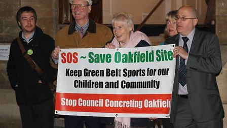 Save Oakfield Site supporters outside Redbridge Town Hall. Picture: Ajay Nair