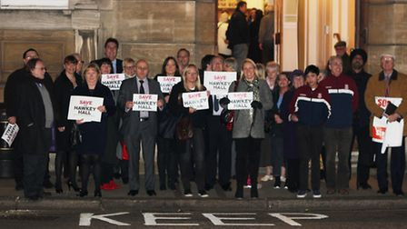 Sir James Hawkey Hall campaigners outside Redbridge Town Hall. Picture: Ajay Nair