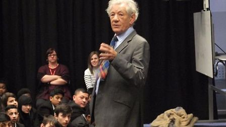 Sir Ian McKellen spoke to 300 pupils about LGBT rights at Forest Gate Community School