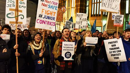 Junior doctors protesting in Whitehall over the planned changes to their contracts