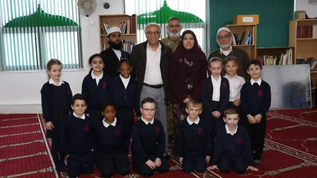 The Romford Recorder's original picture: pupils from the Wyekham Primary School with Mohamad Rafi an