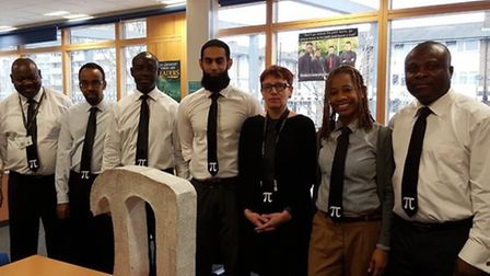 Rokeby School's maths department in their pi ties
