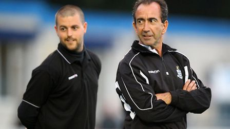Redbridge joint-manager Dave Ross (right) looks on with Ricky Eaton behind (picGavin Ellis/TGS Photo