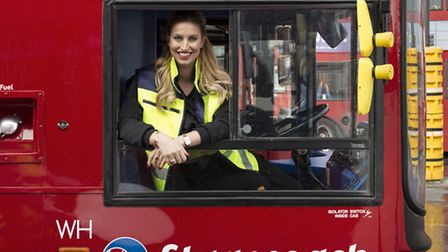 TV personality Ferne McCann learning how to drive a bus at thr West Ham depot