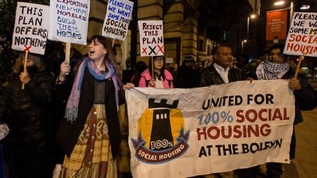 Demonstrators protest outside the Old Town Hall in Newham ahead of a meeting about the Boleyn Ground