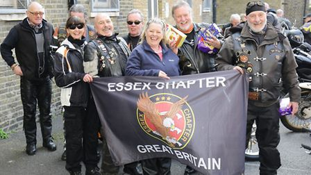 Bikers with some of the Easter eggs