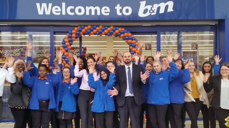 Staff at the new B&M store in Beckton
