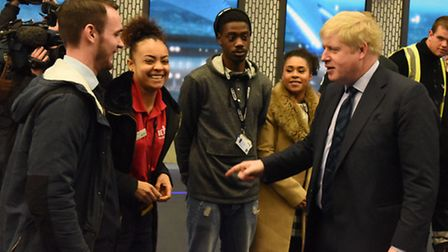 The Mayor of London Boris Johnson launching Apprentice Week at Here East in Stratford