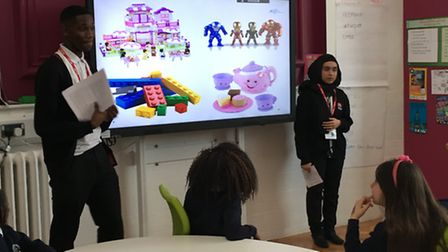 Ansa Edem and Muslima Miah deliver their session to primary school pupils