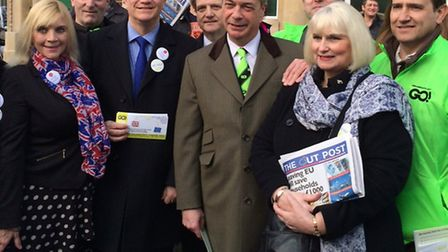 The UKIP leader showing his support at the Grassroots Out rally