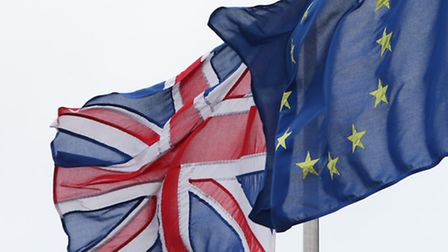 The Union Jack pictured next to the European Union flag in London Picture: Yui Mok/