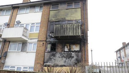 Fire damage to the flats in Trinity Gardens, Canning Town