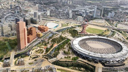 Olympicopolis, in red, will be situated next to the London Aquatics Centre