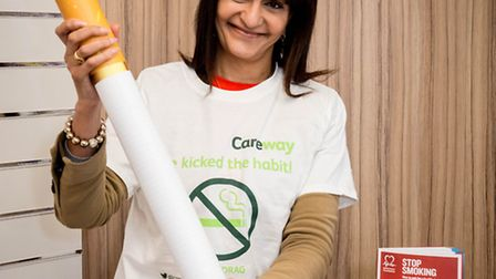 Shaheen Bhatia preparing for No Smoking Day on Wednesday. Her pharmacy will be giving out free healt