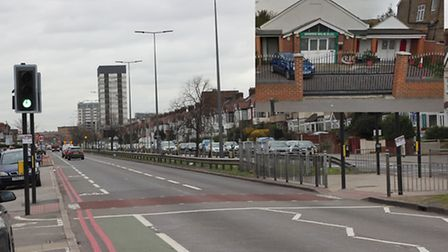 The junction in Eastern Avenue, Redbridge, where Mohammad Abdul Muqtadir was killed in a crash. Inse