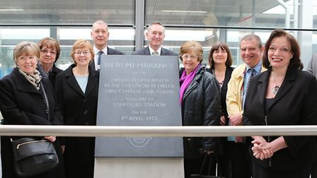 A comemorative plaque unveiled in memory of 12 people who died on 8 April 1953, with relatives joini