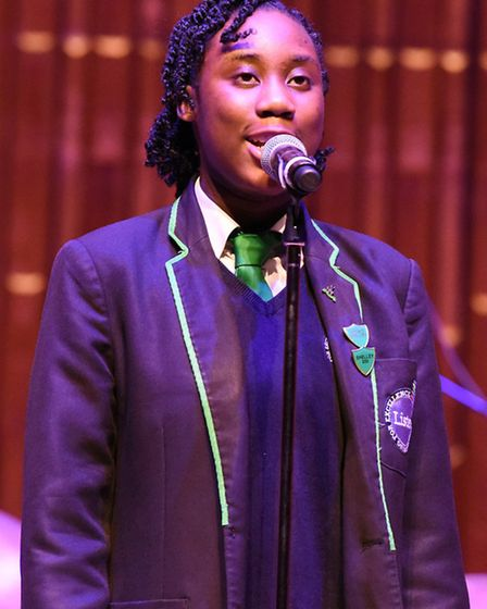 Year 10 pupil Danielle Abbia Kwayke performs with the Lister School Jazz Band