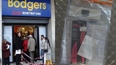 Bodgers of Ilford, left, were fined £3,000 by Barkingside Magistrates Court for selling the knife, r