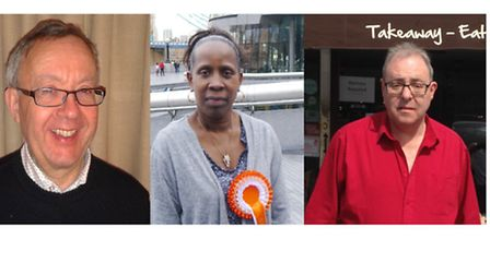 Roding ward candidates L-R: Barry Cooper (Green Party), Marilyn Moore (All People's Party), Jonathan