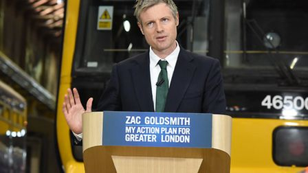 Zac Goldsmith delivering his transport manifesto at the Bombardier depot in Ilford