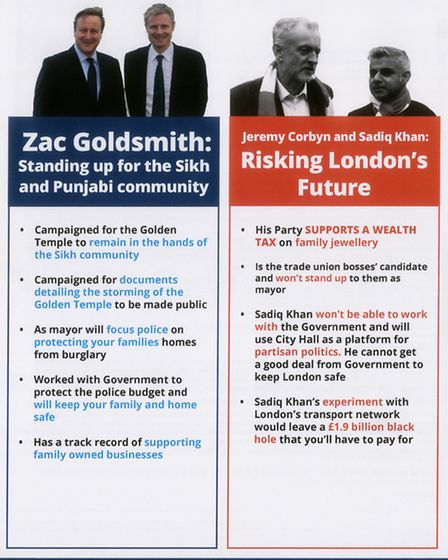A campaign leaflet sent by London mayoral hopeful Zac Goldsmith to some Redbridge residents. Picture