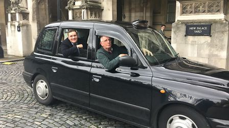 Black cab driver, Evan Walters of Sackville Gardens, Ilford driving Ilford North MP Wes streeting