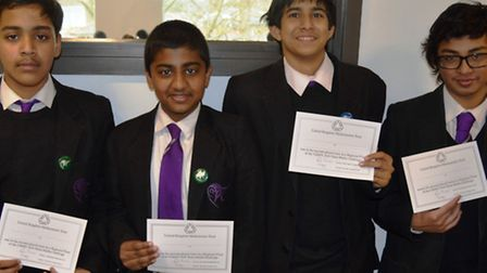 The Stratford School Academy students with their certificates