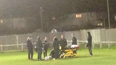 Greenhouse Sports' Kofi Nsia suffered a broken leg during their Essex Senior League clash with Clapt