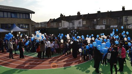 Balloon race at St Winefride's Catholic Primary School