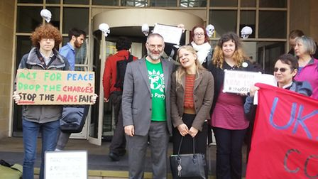 Tom Franklin with supporters, including Green Party mayoral candidate Sian Berry, outside court
